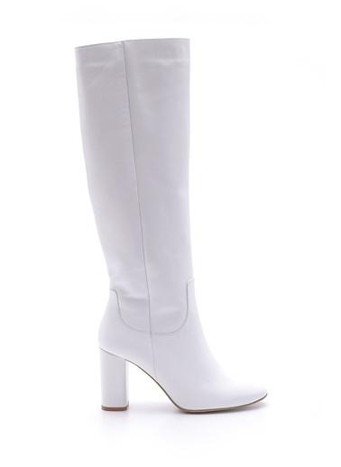Derimod Topuklu Deri Çizme Beyaz